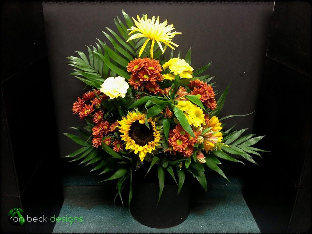 Fresh Flowers Floral Arrangement - Sunflowers and Fall Mums - Ron Beck Designs