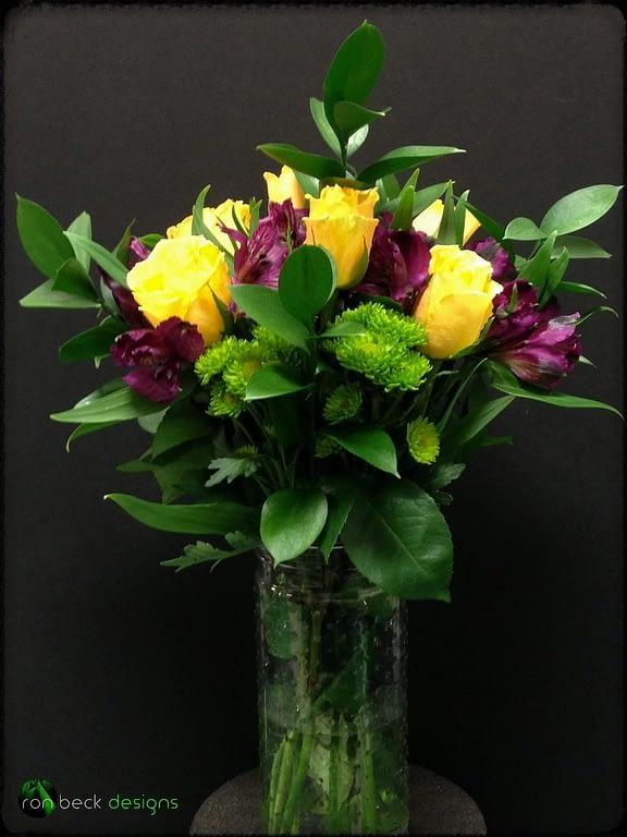 Fresh flowers Floral Arrangement - Yellow Roses - Purple Alstroemeria - ron beck designs