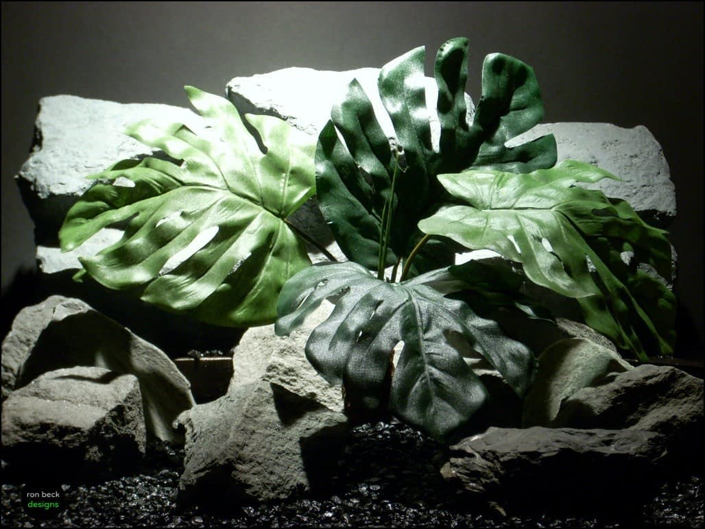 silk reptile or snake habitat plant: split philodendron (srp102) from ron beck designs