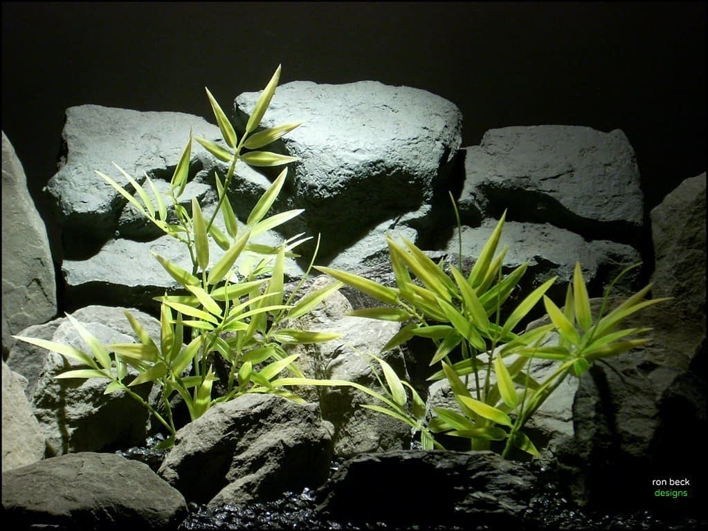 plastic aquarium plants Variegated Bamboo from ron beck designs, pap209