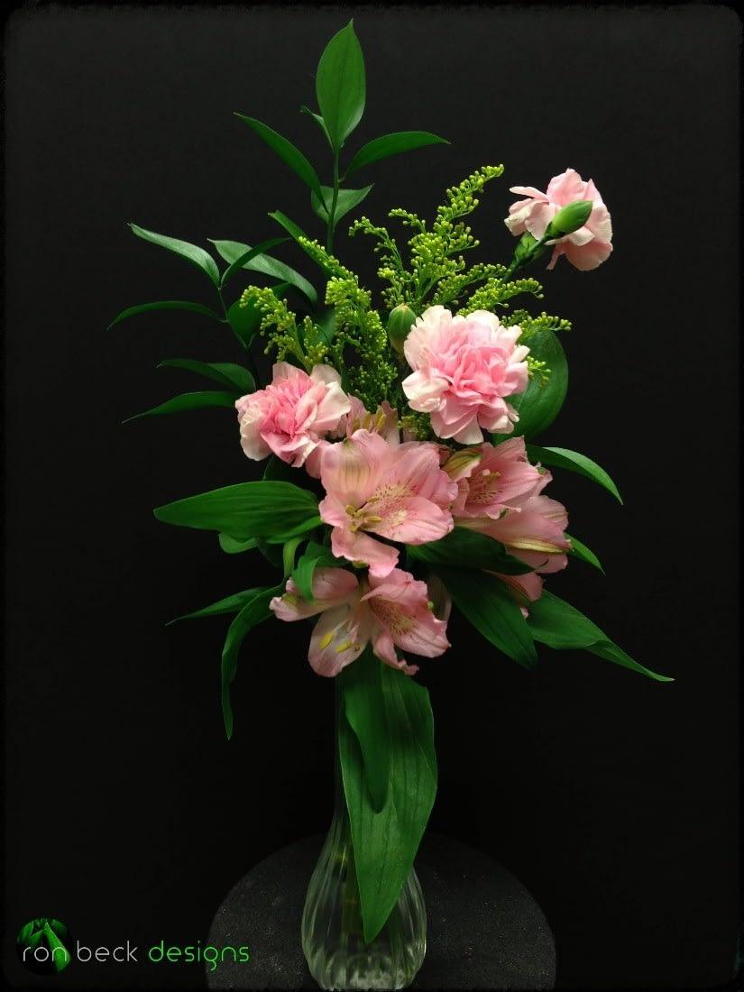 Bud Vase - Pink Alstroemeria - Carnation - ron beck designs -August 28 2019