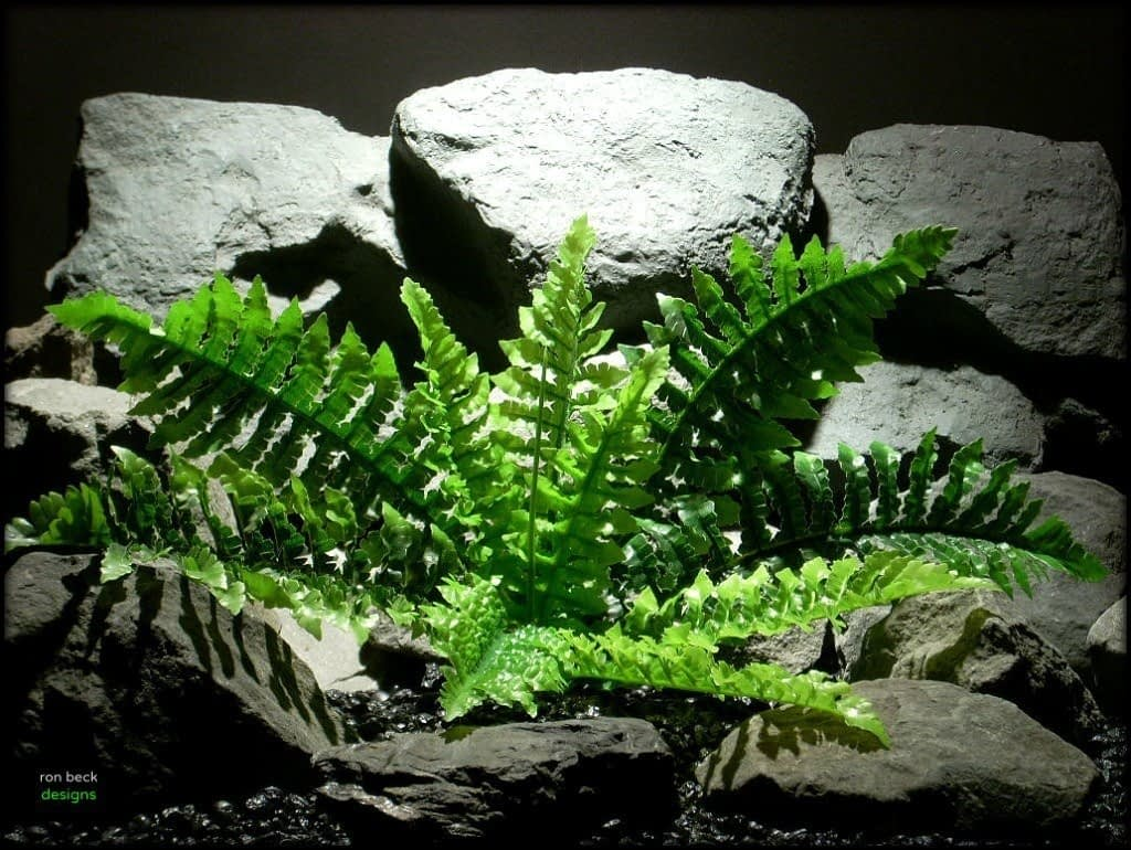 silk reptile or snake habitat plant fern real touch srp128