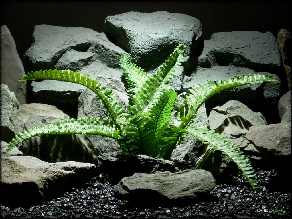 Artificial Boston Fern -Artificial Silk Reptile Plant - srp312