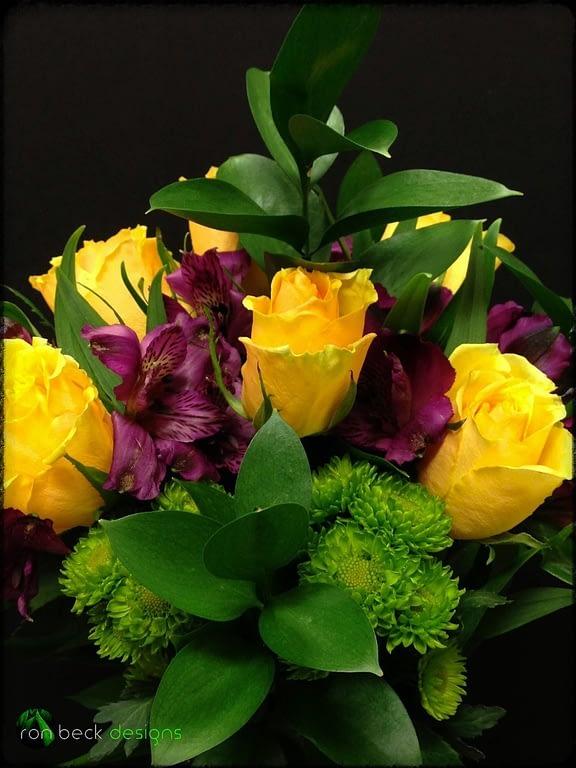 Fresh flowers Floral Arrangement - Yellow Roses - Purple Alstroemeria - ron beck designs 2