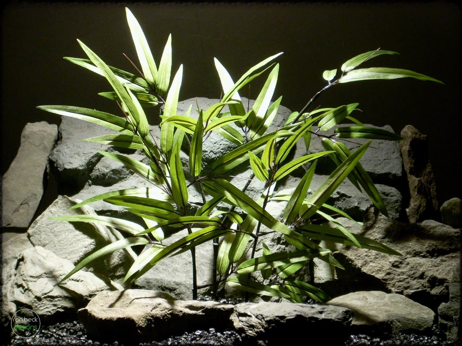 Silk Black Bamboo - Artificial Reptile Plant - Snake Cage Plant srp301