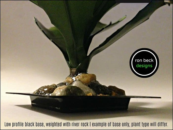Low profile black base, weighted with river rock   example of base only, plant type will differ.