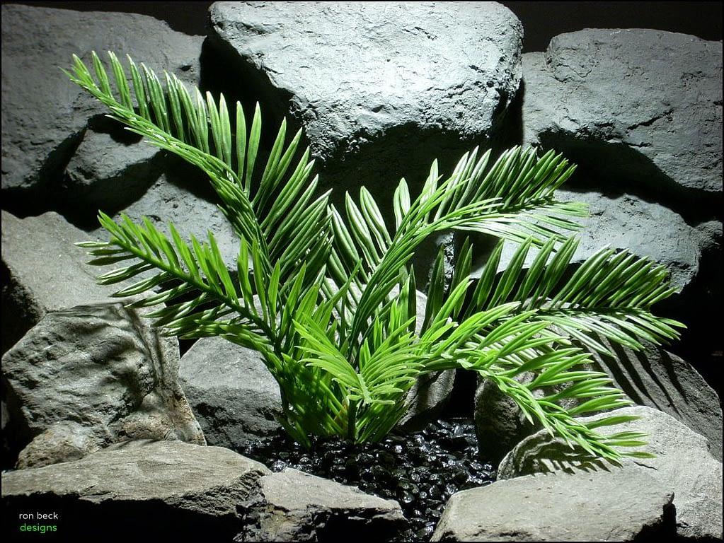 plastic reptile snake habitat plant cycas palm custom   ron beck designs
