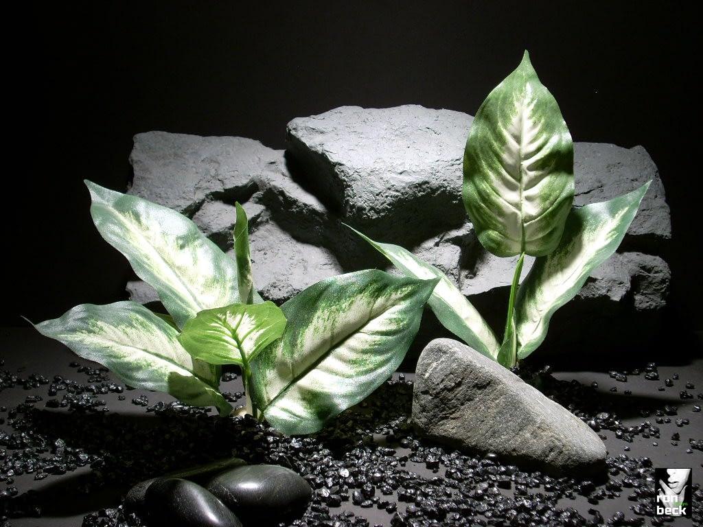 reptile habitat plants Dieffenbachia Leaves pair sap325 silk ron beck designs