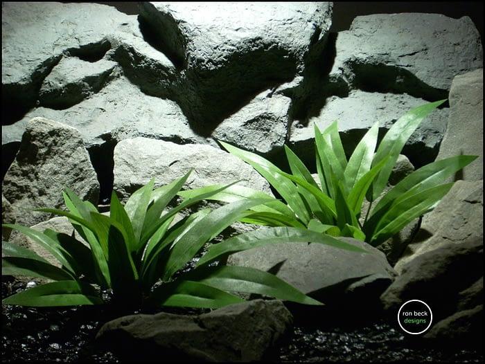 silk aquarium plants - silk reptile plants: palm leaves bushes sap156 from ron beck designs