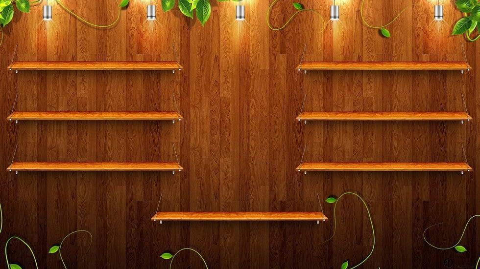 I am thankful, ron beck designs. | wooden shelves empty asetgn.