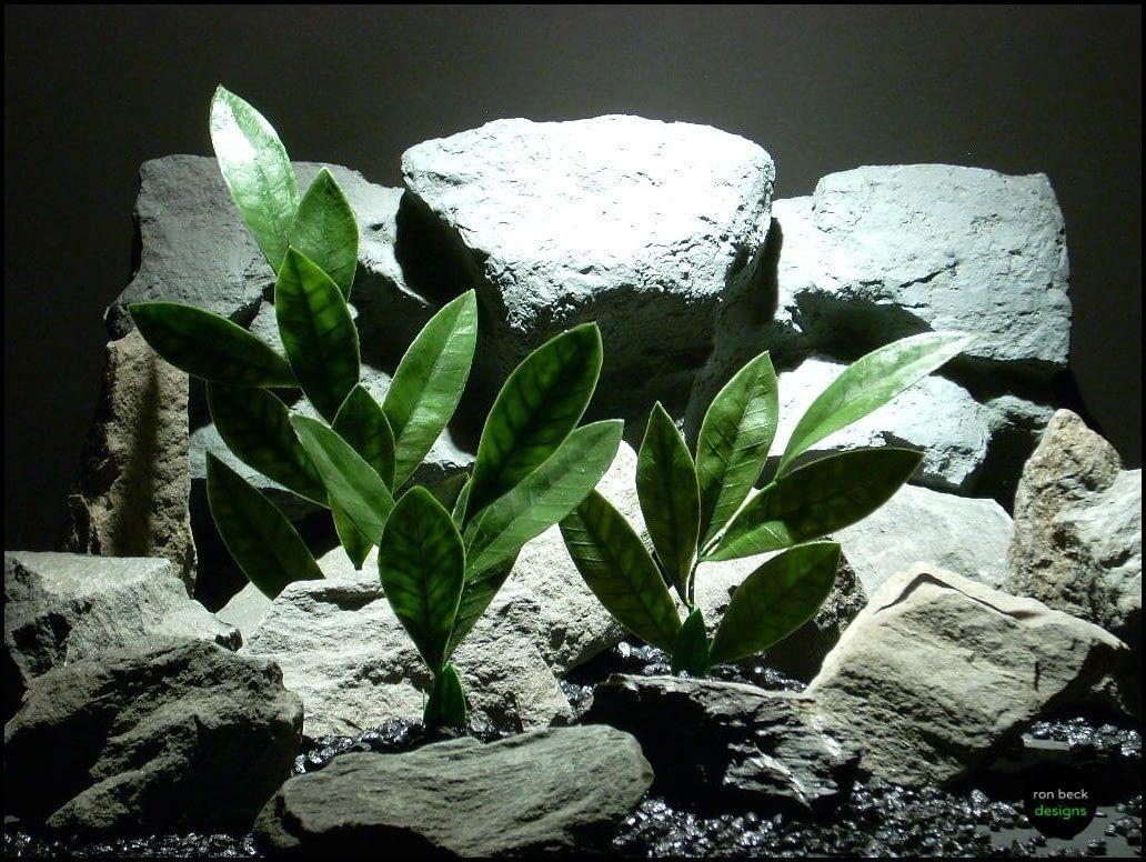 artificial aquarium plants basil leaves set 3 pap121  ron beck designs