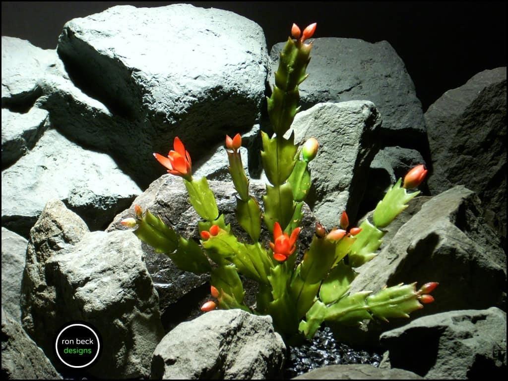 artificial christmas cactus reptile terrarium plant from ron beck designs. 2 prp201